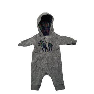 CARTER'S Gray Hooded Moose Outfit NB